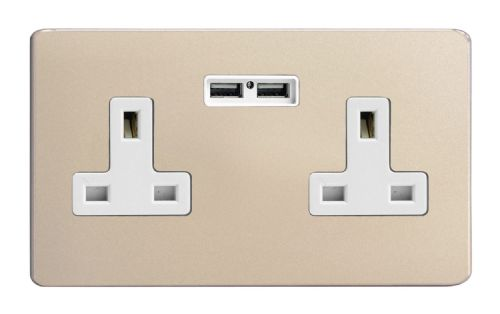 Varilight XDN5U2WS Screwless Satin Chrome 2 Gang Double 13A Unswitched Plug Socket 2.1A USB
